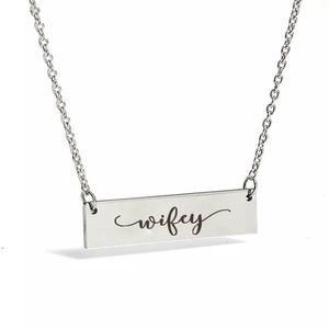 Wifey Stainless Steel Bar Necklace
